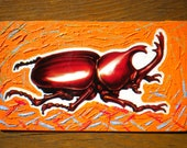 Scientific Stag Beetle - Oil Handpainted Magnet ACEO (Free US Shipping)