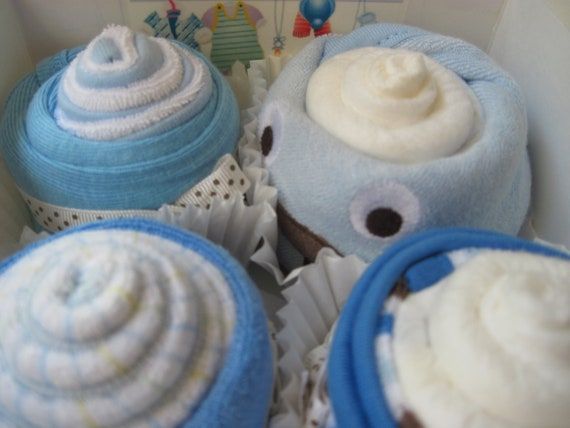 Baby Boy Onesie, Burp Cloth and Washcloth Cupcake 8 Piece Baby Gift Set, So Adorably Sweet