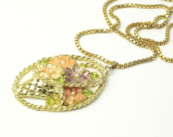 Glass Nugget Large Flower Basket Pendant Box Chain Vintage Costume Jewelry Necklace