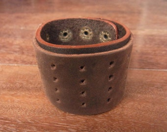 Classic brown leather bracelet cuff, eyelet design // perforate // gothic // rocker // steampunk // rustic