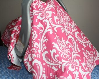 Baby Carseat Tent -Hot Pink Damask Carseat Canopy