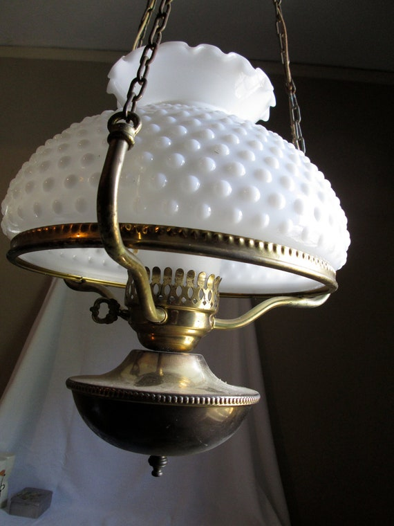 Colonial Brass Hanging Lamp W Frosted Hurricane And White