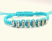 Rhinestone Beaded Macramé Bracelet in Turquoise with Square Crystal Rhinestone Beads