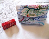 OOAK Limited Edition London Tube Map Royal Blue Medium Snap Pouch...A Great Gift for Men