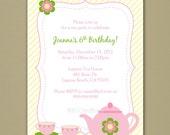 Tea Party Invitation - Personalized DIY Printable Digital File