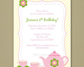 Tea Party Invitation - Personalized DIY Printable Digital File