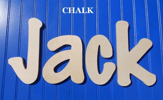 """SALE :) Wall Letters - Unpainted Wood - Chalk - plus other Fonts - Gifts and Decor for Nursery, Home, Playrooms, Dorms - 10"""" Size"""