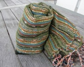 Dark green and shimmery orange Indian Goa style woven scarf