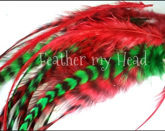 Christmas Colors Wide Feather Extensions  Grizzly  Whiting Saddle Hackle With Fluff