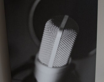 Fine Art Photography - 20x24 Canvas Gallery Wrap - Black & White Microphone