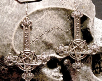 Large Silver Inverted Cross Pentagram Earrings
