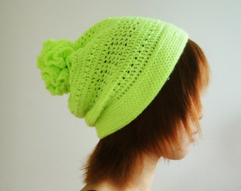Neon Lime Hat, Crochet Beanie for Women and Men, Pom Pom Hat, Slouchy Beanie, Slouchy Hat, Winter Accessories - lapuzelo