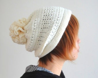 Crochet Hat in Cream White for Women and Men, Pom Pom hat, Slouchy Hat, Hand Crocheted Hat, Unique Flower Pom, Winter Accessories - lapuzelo