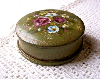 Vintage Handpainted Tole Green Box with Flowers