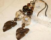 Leaf earrings, Brown earrings, dangle earrings, Vintaj brass jewelry