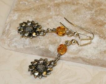 Silver sunflower, Sunflower earrings, Golden yellow czech glass earrings