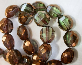 NEW 12mm . Czech Pressed Glass Table Cut Faceted Rounds . olive  peridot green copper  . 10beads