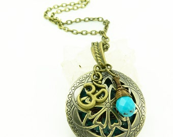 Orgone Energy Locket - Antique Bronze - Celtic Filigree Design - Turquoise Gemstone - Om - Artisan Jewelry