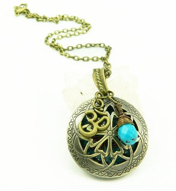 Orgone Energy Locket - Antique Bronze - Celtic Filigree Design - Turquoise Gemstone - Om - Artisan Jewelry