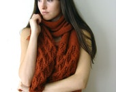 The Autumn Scarf- Burnt Orange. Waffle Pattern, Hand Knitted