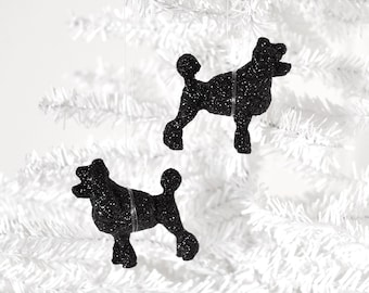 Poodle Dog Ornaments French Puppy Animal Lover Gift Set of 2.Christmas Party Decoration in Black Glitter Home Decor or Winter Wedding Favor