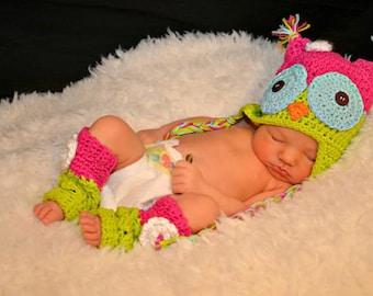 Newborn Owl Hat with Matching Legwarmers