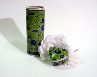 Vintage Otagiri Japan Matched Heart Trinket box and Bud Vase Big Chrysanthemum Ogiku