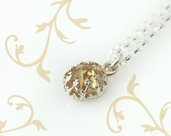 Citrine Necklace - November Birthstone Jewelry - Personalize your necklace with initial charm