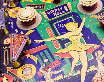 Vintage Pinball Photograph, Nursery Decor, bright colors, Retro Arcade Decor, Summer Fun - Dance