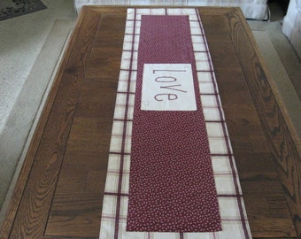 Table Runner Love Burgundy, Rose, Gold Plaid Long Home Decor Decorative Accent