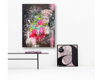 Christmas Floral Original Abstract Acrylic Painting - Red, Black, Pink, Teal Acrylic Paint on Canvas - Ready to hang