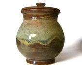 Large Jar with Lid - Blue Brown White - In Stock - Flour, Cookies, Coffee, Kitchen