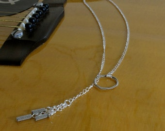 Lariat Sterling Silver and Guitar String Necklace