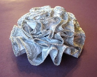 Winter White and Silver Flower Pin - Women's Hair Accessory with Gray Pine Needle Design