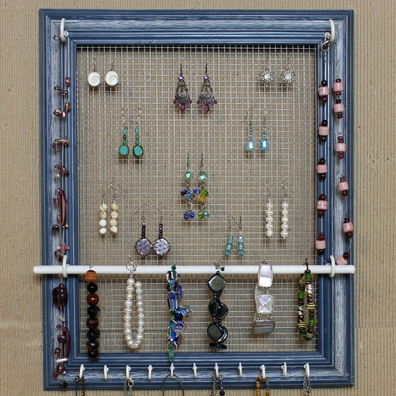 Custom Jewelry Display Frame: Jewelry Organizer Display Blue Picture Frame By