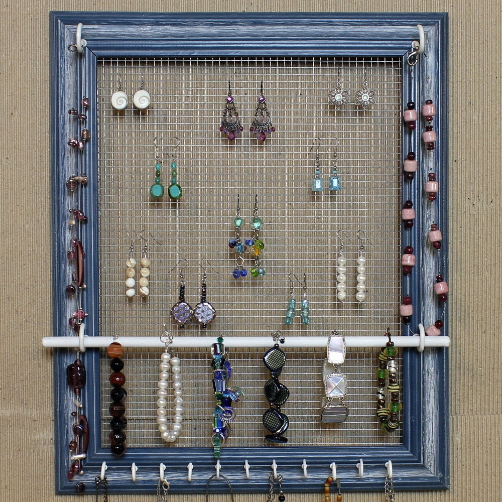 Jewelry organizer display blue picture frame by for Make your own jewelry rack