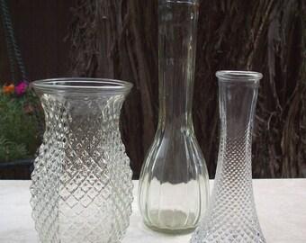 Vintage Hoosier Glass Vase in Diamond Point Pattern, E.O. Brody Co Vase in Diamond Point Pattern and Etched C F G Ribbed Vase