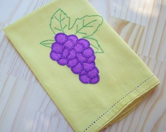 Mid Century Hand Stitched Linen  ~   Yellow with Purple Grapes Table Scarf  ~  Vintage Table Scarf