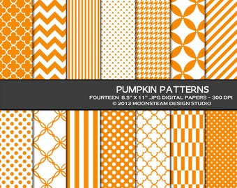 Orange digital paper, pumpkin orange digital paper pack, chevron, stripes, polka dots, digital backgrounds 8.5x11 or 12x12 or A4