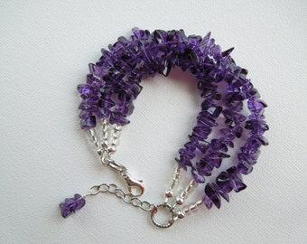 Dark Purple Glass Bracelet, Amber Glass Bracelet, Green Glass Bracelet, Glass Chips, Multi Strand, Store Closing, Liquidation Sale