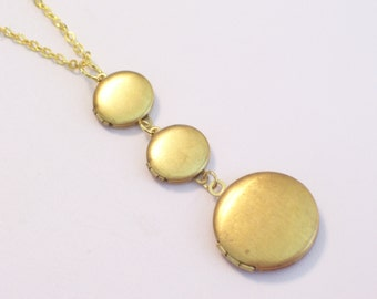 Triple Locket Necklace, Waterfall Locket Necklace, Locket Trio, Mini Locket Pendant, Vintage Brass Lockets, Handmade Locket Necklace,