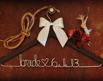 Custom Wedding Dress Hanger - CHERRY- personalized with Bride & Groom's names