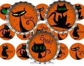 SALE 1C080 Halloween Stray Cats 1 Inch Digital Bottle Cap Images