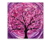Abstract Tree Painting 'Raspberry Ripple'