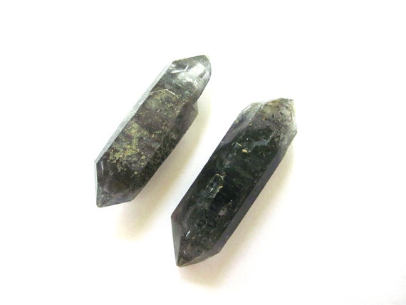 Tibetan Black Quartz Points  43mm and 46mm Raw Rough Natural 2 Crystals Double Terminated (Lot No. 1016)