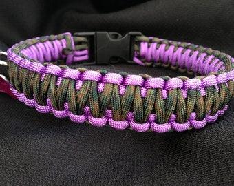 Light Purple with Woodland Camoflauge Paracord Dog Collar (custom size)