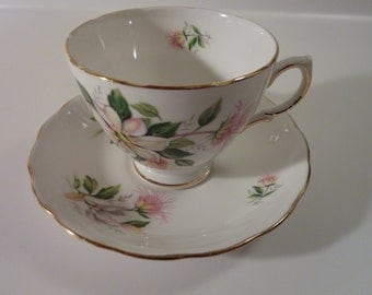 Vintage English Tea Cup and Saucer with White and Pink Flowers and Gold Rim - Royal Vale Fine Bone China, Made in England