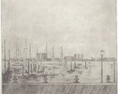 harbor grey - drypoint print of ships at dock
