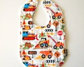 Baby bib construction dump truck pay loader bull dozer boy bib Minky spring children newborn