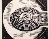 O: Retro Science Fiction Alphabet Letter, UFO Flying Saucer Linocut (woodcut-ish) print